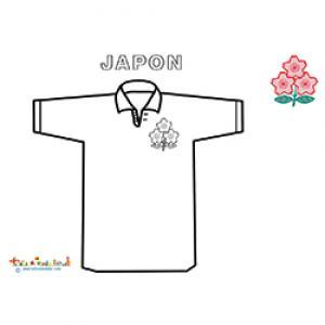 Coloriage du maillot de rugby de l'équipe du Japon