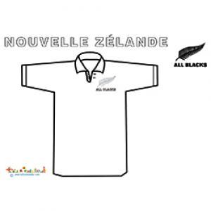 Coloriage du maillot de rugby de Nouvelle Zélande