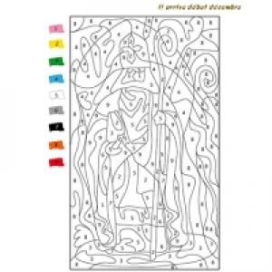 coloriage numeroté saint nicolas