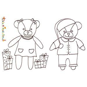 Coloriage des 2 ours en peluche de Noël