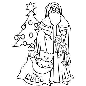 Coloriage du Père Noël posant les cadeaux
