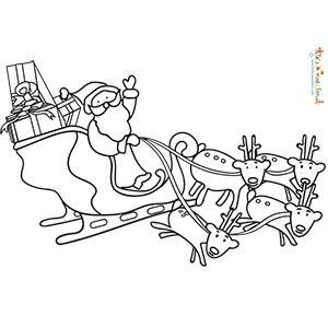 Coloriage du Père Noël sur son traineau