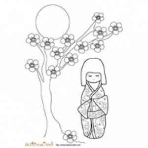 poupée japonaise et fleurs de pêcher