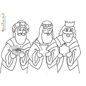 Les 3 rois mages à colorier