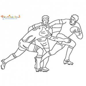 Trois joueurs de rugby sur le ballon
