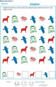 Exercice 4 compter des animaux maternelle et écrire le chiffre niveau 3