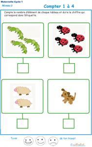 Imprimer l'exercice 4 pour apprendre à compter maternelle niveau 2
