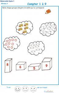 Imprimer la fiche pour apprendre à compter Exercice 1 maternelle niveau 3
