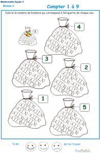Imprimer la fiche pour colorier le bon nombre de bonbons Exercice 2 maternelle niveau 3