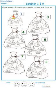 Imprimer la fiche pour colorier le bon nombre de bateaux Exercice 5 maternelle niveau 3