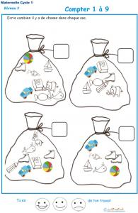 Imprimer la fiche pour compter des objets Exercice 1 maternelle niveau 3