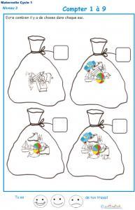 Imprimer la fiche pour compter des objets Exercice 2 maternelle niveau 3