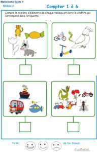 Imprimer l' Exercice 9 de l'ardoise pour apprendre à compter les animaux et objets divers