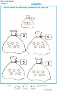 Exercices pour apprendre à compter à la maternelle niveau 2 Moyenne Section
