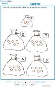 Exercice 2 pour compter et colorier le bon nombre de billes