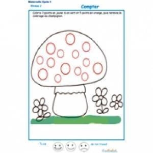 exercice 4 : compter et colorier les points du champignon