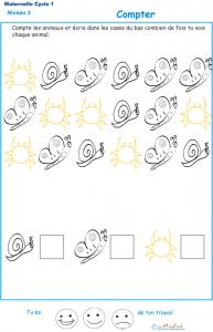 Imprimer l'Exercice 3 pour apprendre à compter maternelle niveau 3