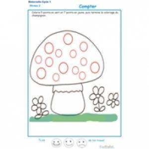 exercice 7 pour compter et colorier les points du champignon