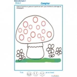 compter et colorier les points du champignon