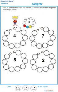 Exercice 3 pour compter et colorier les perles du collier de Nana