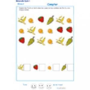 exercice 2 pour apprendre à compter les fruits GS