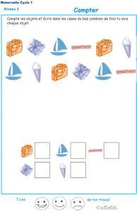 Imprimer l'exercice 2 pour apprendre à compter maternelle niveau 2