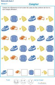 Imprimer l'exercice 1 pour apprendre à compter maternelle niveau 3