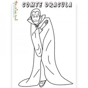 Coloriage du comte Dracula drapé dans sa grande cape de chauve souris. Un dessin de Dracula à imprimer et à colorier.