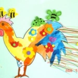 Coq à la manière du peintre Boucheix