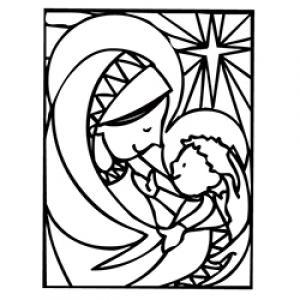 coloriage de Marie et Jésus pour Noël