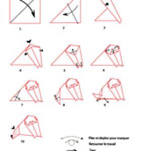 Croquis origami du chien