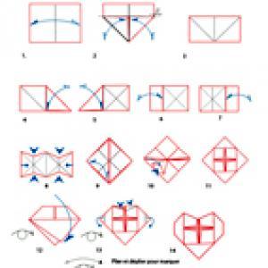 pliage du coeur origami