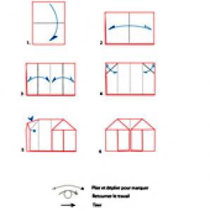 Croquis origami de la maison à colorier