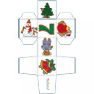 Cube de Noël 7 décoré de 2 ours
