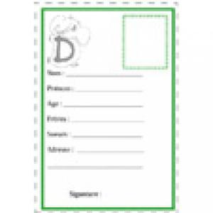 carte d'identité D illustration par une lettre animal