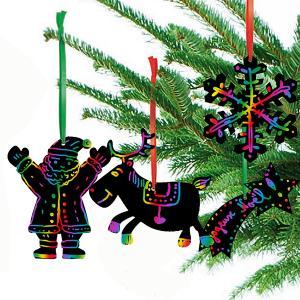 Décorations de sapin de Noël en carte à gratter