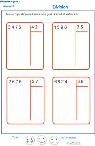 Divisions à deux chiffres - division euclidienne exercice 2