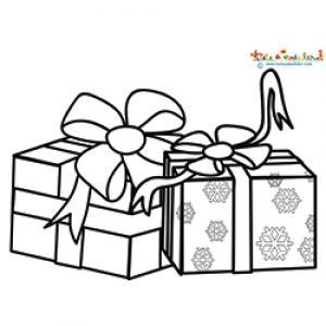 Coloriage de deux gros cadeaux de Noël