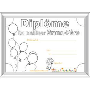 Coloriage du diplôme de meilleur grand-père