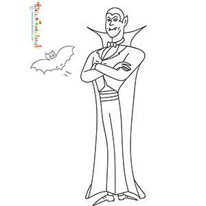 Sur ce coloriage Dracula se tient debout les bras croisés sur la poitrine. Comme souvent Dracula est enveloppé dans sa grande cape et son sourir satanique dévoile ses longues canines !