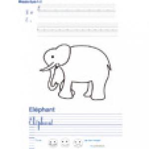 Imprimer la page d'écriture sur l'éléphant