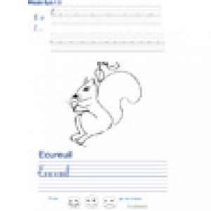 Imprimer la page d'écriture sur l'écureuil