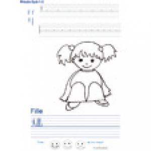 Imprimer la page d'écriture sur la fille