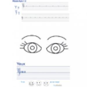 Imprimer la page d'écriture sur les yeux