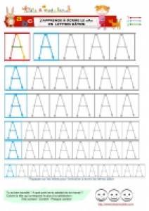 A Page d'ecriture du A en lettres baton