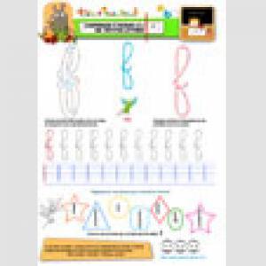 apprendre a Ecrire les lettres minuscules : page du f