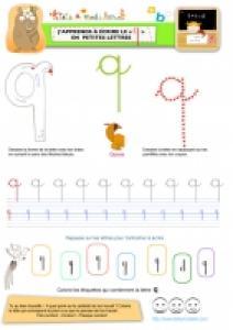 """Apprendre à écrire le """"q"""" de queue en minuscule"""