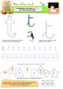 """Apprendre à écrire le """"T"""" de Toucan en minuscule"""