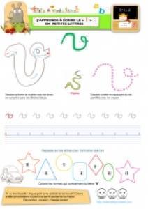 """Apprendre à écrire le """"V"""" de Vipère en minuscule"""