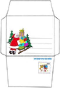 EnveloppePère Noël  et son traéneau